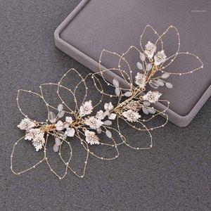 Npason Rose Gold Tiara Stirnband Clips Braut Haarschmuck Blatt Bridal Tiara Hochzeit Stirnband Metall Hochzeit Haarschmuck1