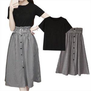 2020 Summer Elegant Office Lady 2 Piece Set Women Solid T Shirts Plaid Long Ruffle Skirts Suit Formal Party Wear Plus Size