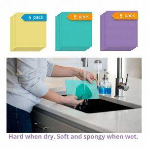 Plato 5PCS / paquete absorbente estupendo paño de limpieza de algodón paño de cocina Vajilla de limpieza del hogar Lavavajillas esponja de cocina uOk2 #