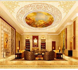 Custom Retail Gold European Fairy Oil Painting Ceiling Murals Angels Paradise Beauty Outside The Wall Murals