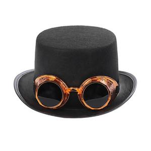 Men Women Steampunk Hat Steampunk Top Hat With Glasses Stage Magic Performance Jazz Bucket fedora women