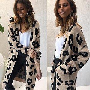 Leopard stricken Frauen Pullover lässig Tasche Strickjacke Frauen Jumper Winterkleidung Frauen Art und Weise neue outwear casaco feminino Y200930