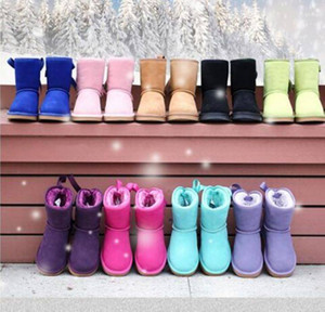 FREE SHIPPING kids Bailey 2 Bows Boots Genuine Leather toddlers Snow Boots Solid Botas De nieve Winter Girls Footwear Toddler Girls Boots 01
