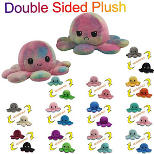 DHL UPS Fast delivery Reversible Flip Octopus Stuffed Plush Doll Soft Simulation Reversible Plush Toys Color Chapter Plush Doll Child Toys