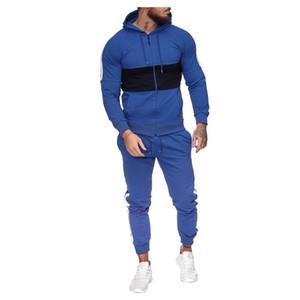 KANCOOLD Sportswear Mens Autumn Splicing Zipper Print Sweatshirt Top+Pants Sets Tracksuit Hooded jacket mens clothes Oct22