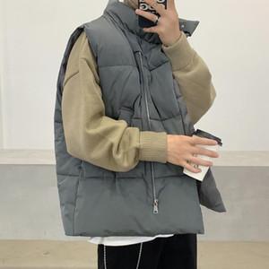 Мужские жилеты 2021 мужские без рукавов жилет куртки зимняя мода теплый Homme стенд воротник высокого качества повседневный уютный жилет