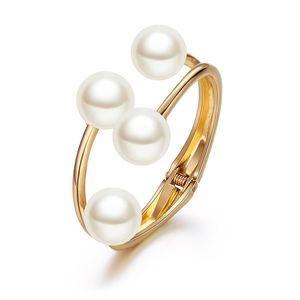 Mode Dame Schmuck Doppelschicht Perlen Unregelmäßige asymmetrische offene Mund Manschette Armreif Armbänder Perle Charms Offenes Armband