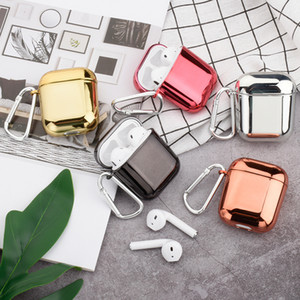 Plating Hard Shell Earphone Case For Apple Airpods Protective Case Luxury Gold Silver Pure Color Cover For Airpods 2nd Hot Sale