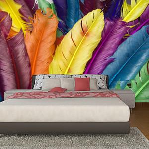Fond d'écran personnalisé Peinture murale moderne plumes colorées affiche 3D Wall Art Peinture Salon Chambre Maison Décor photo