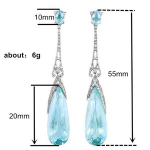 Proveedor de joyería altamente calificado Pendientes de gota atmosférica simple cielo salvaje Pendientes de cristal azul Joyería de moda femenina