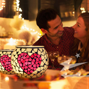 Glass Mosaic Candle Holders Table Decoration Candle Holder Wedding Decoration Candle Lantern Valentine Gift 11.5*9.5CM SEA SHIPPING YYS4271