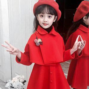 2pcs set Children's clothing 2020 new woolen suit children's clothing princess dress + coat Baby Kids Clothing Outwear Coat
