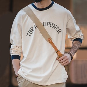 Maden men's casual long-sleeved round neck White sweatshirt retro ivy style Letter cotton Sweatshirts printed men clothing 201020