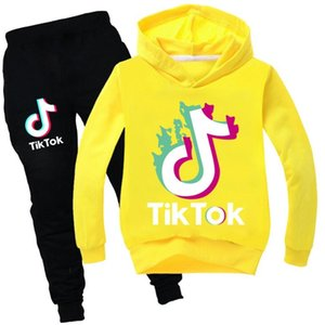 Tik Tok new Set For Big Boy Girl Tracksuit Clothes Autumn Winter Tiktok Kid Hooded print Sweatshirt+Pant 2PC Sport Suit 13 colors