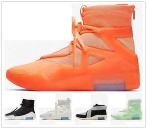 Mens 2019 Fear Of God 1 Light Bone Black Sneakers Fashion Fog Cushion Boots Sports Zoom Casual Shoes 40-45