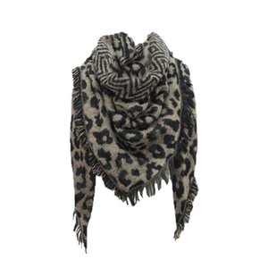 Women Leopard Prined Scarf Laides Winter Warm Wrap Shawl Triangle Scarves Wool Stole Cape Mujer #YJ
