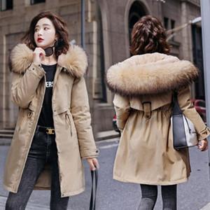 Vestes à mi-longues à capuche à capuche fourrure à l'intérieur du manteau de coton femme plus taille femme femme hiver jaquette veste laine liner parkas chaud
