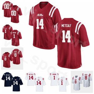 NCAA College Football 22 Deuce McAllister Jersey SEC Ole Miss Rebels 14 DK Metcalf 1 AJ Brown 22 Dexter McCluster 8 Elijah Moore
