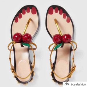 Cartoon Cherry Sandals Woman Gladiator Sandals Beads Heel Women Flats Plus Size Luxury Summer Beach Sandals Ankle Strap
