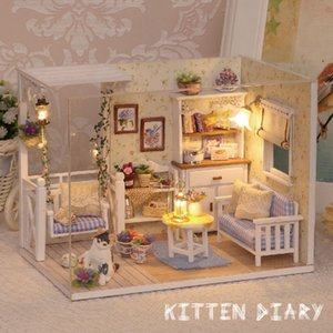 Dollhouse Furnitures wooden toy DIY Doll Miniature Room Cute Cat House Dolls Birthday Gift Toys For Children LJ200909