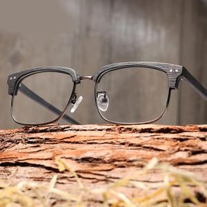 Brand Design Men Women Wooden Plain Galsses Myopia glasses Wood Frame with Clear Lenses