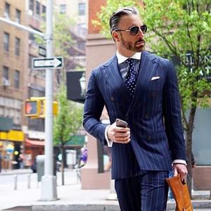 New Double Breasted Navy Blue Stripe Designs Slim Fit Costume Men Suit 2 Piece Tuxedo Custom Groom Formal Prom Men Suits Ternos