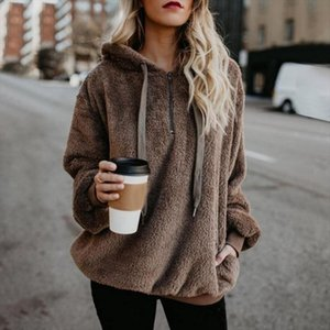 2018 New Year Spring Faux Fur Teddy Bear Coat Sweaters Women Fashion Open Stitch Hooded Coat Female Long Sleeve Fuzzy Jacket
