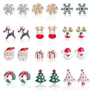 12 styles de Noël Charms Boucles d'oreilles diamant Boucles d'oreilles en alliage d'arbre goutte à goutte d'huile Stud Cloches flocon de neige cotillons Boucles d'oreilles de Noël YYA516