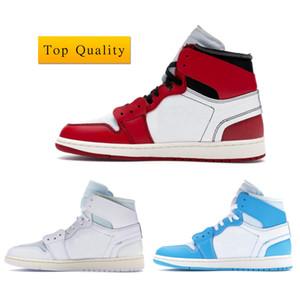 Air Jordan 1 Off White Basketball Shoes Yüksek kaliteli 1 Retro Yüksek Kapalı Üniversitesi Beyaz Mavi Şikago 85 Erkek Spor Açık ile Orjinal Kutusu ABD 5,5-12