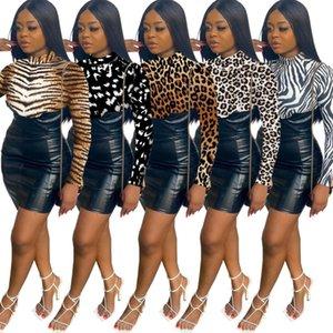 Kadın Elbiseler Tasarımcı Giysileri 2021 Moda Baskılı PU Deri Etekler Geri Açık Gizli Fermuar Kalça Elbise Ince Giyim