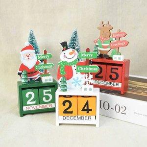Weihnachten Holz Kalender Nette Santa Deer Schneemann Adventskalender Kinder Geschenke Party Geschenke Weihnachtsdekorationen IIA829