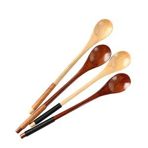 Экологичный набор из 6 Длинной ручки деревянной ложки Кофе Чай ложка натурального дерево Десерт Мед Spoon Bar Посуда Аксессуары DHE2501