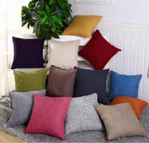 Pillow Case 45*45cm Linen Throw Cushion Cover Home Decoration Sofa Bed Decor Decorative Solid Waist Pillowcase 40*40cm Pillow Cover 3388