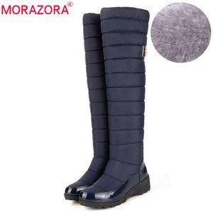 Morazora NUEVO 2021 Mantenga las botas de nieve cálidas Mujeres de la moda de la plataforma de la moda del muslo superior sobre las botas de la rodilla Damas de felpa Botas de invierno cálidas C1023