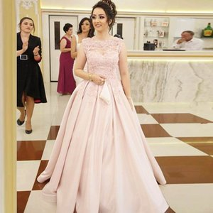 New Evening Dresses Pink Appliques Long Prom Gowns Boat Neck Satin Floor Length Evening Party Dresses Robe De Mariee L178
