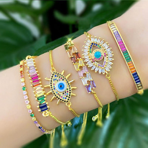 Rainbow CZ Crystal Charm Bracelets Evil Eye Rhinestone Strand Bracelets Chakra Stone Colorful Hand Jewelry Party Gifts1