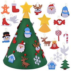Puerta de la pared creativa DIY fieltro regalos del árbol de navidad Decoración Conjunto para niños de Año Nuevo que cuelgan del árbol de Navidad adornos de nieve de Santa Claus