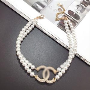 El diseñador de moda collar de la letra de las mujeres del collar de cristal de diamante perla Luxurys Collares Señora joyería Oferta Regalo Especial