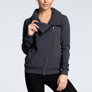CINESSD Autumn Winter Coat Jacket Women Turn Down Collar Long Sleeve Zipper Cardigan Casual Hoodies Sweatshirt with Pockets 201020