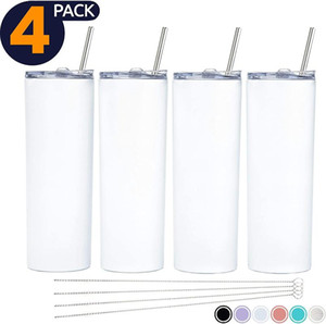 20Oz Sublimation Tumbler Skinny Tumbler Set Stainless Steel Insulated Travel With Closed Lid Straw Slim Water TumblerCup