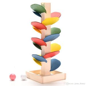 الجملة - شجرة خشبية الرخام الكرة تشغيل المسار لعبة مونتيسوري كتل أطفال الأطفال الاستخبارات التعليمية لعبة طفل كيد هدية