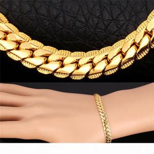 Men Gold Bracelets 6MM 9MM Chain Rose Gold Platinum Black Gun 18K Gold Plated Curb Link Chain