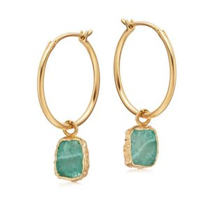 Geometric Natural Amazonite Stone Crystal Round Cuff Dangle Earring Solid 925 Sterling Silver Druzy Women Wedding Jewelry