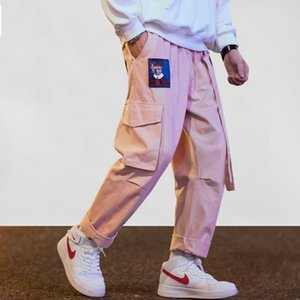 Aelfric Eden Streetwear Hip Hop Cargo Pants Uomo Donna Ribbon Lettera Ricamo Giapponese Joggers Pantaloni Casual Harem Pants Pink