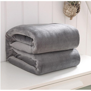 Cozy Home 100% Polyester Plain Flannel Fluffy Soft Blanket Coral Fleece Pure Color Blanket Sofa Couch Bed Throw