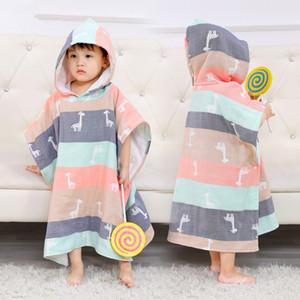 6 Layers Baby Boys Bath Towels Ultra-soft Kids Hooded Cloak Cartoon Gauze Infant Bibulous Bathrobe Beach Towel 60*60cm 201019