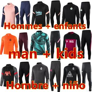 barcelona real madrid psg france ajax marseille tottenham manchester city liverpool arsenal kids football kits 20 21 soccer training suit