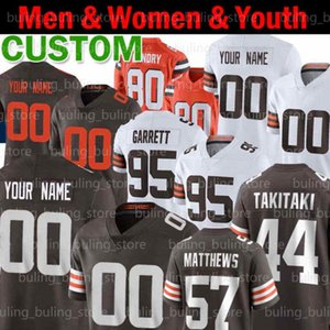 27 Kareem Hunt Custom Football Jerseys 44 Sione Takitaki 57 Argilla Matthews 19 Bernie Kosar Jedrick Wills Jr Wyatt Teller Men Youth Donne