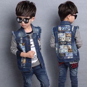 Teenage School Boy Denim Vests Spring Autumn Printed Jeans Jackets Fashionable Sleeveless Outerwear Cowboy Boy Waistcoats Y200919