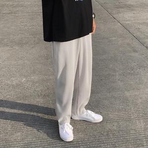 남성 패션 단색 탄성 허리 캐주얼 바지 남성 스트리트 느슨한 일본어 얼음 실크 바지 남성